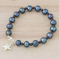 Cultured pearl and garnet beaded bracelet, 'Dark Starfish Love' - Black Cultured Pearl an Garnet Hill Tribe Starfish Bracelet