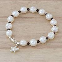 Cultured pearl and garnet beaded bracelet, 'White Starfish Love' - Cultured Pearl Garnet Hill Tribe Silver Starfish Bracelet