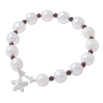 Cultured Pearl Garnet Hill Tribe Silver Starfish Bracelet