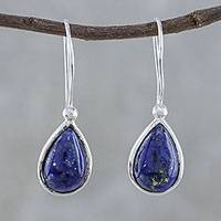 Lapis lazuli drop earrings, 'Galaxy Drops' - Lapis Lazuli and Sterling Silver Teardrop Drop Earrings