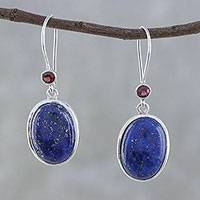 Lapis lazuli and garnet dangle earrings, 'Among the Stars' - Sterling Silver Garnet and Lapis Lazuli Dangle Earrings