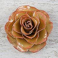 Natural rose brooch, 'Rosy Mood in Cream' - Artisan Crafted Natural Rose Brooch in Cream from Thailand