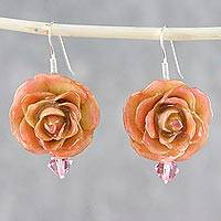 Natural flower dangle earrings, 'Captured Sunset Beauty' - Yellow and Peach Natural Rose and Glass Bead Earrings