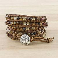 Agate and jasper wrap bracelet, 'River Road' - Handcrafted Agate and Jasper Bead Leather Wrap Bracelet