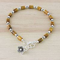 Tiger's eye charm bracelet, 'Tiger Bloom' - Tiger's Eye Karen Hill Tribe Silver Flower Charm Bracelet