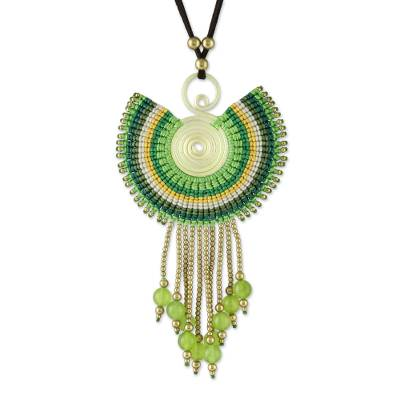 Quartz Pendant Necklace in Green from Thailand