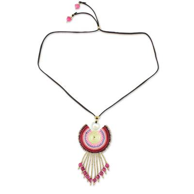 Quartz Pendant Necklace in Pink from Thailand