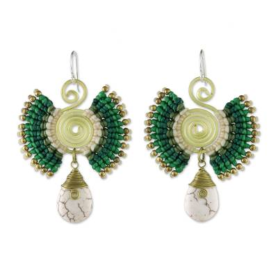 Brass and Calcite Dangle Earrings in Green from Thailand