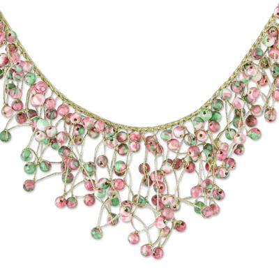 Agate beaded waterfall necklace, 'Fantasy Rain in Pink' - Agate Beaded Waterfall Necklace in Pink from Thailand