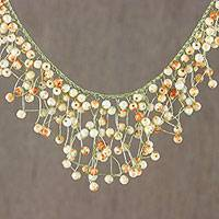 Glass beaded waterfall necklace, 'Fantasy Rain in Orange'