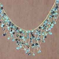 Glass beaded waterfall necklace, 'Fantasy Rain in Blue'