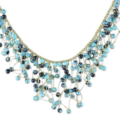 Glass beaded waterfall necklace, 'Fantasy Rain in Blue' - Glass Beaded Waterfall Necklace in Blue from Thailand