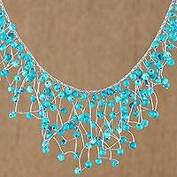Glass beaded waterfall necklace, 'Fantasy Rain in Sky Blue' - Glass Beaded Waterfall Necklace in Sky Blue from Thailand