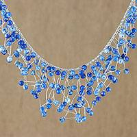Glass beaded waterfall necklace, 'Fantasy Rain in Deep Blue' - Glass Beaded Waterfall Necklace in Deep Blue from Thailand