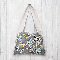 Batik cotton shoulder bag, 'Butterfly Effect' - Butterfly Motif Batik Cotton Shoulder Bag from Thailand
