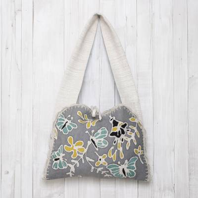 Cotton batik shoulder bag, 'Butterfly Effect' - Butterfly Motif Cotton Batik Shoulder Bag from Thailand