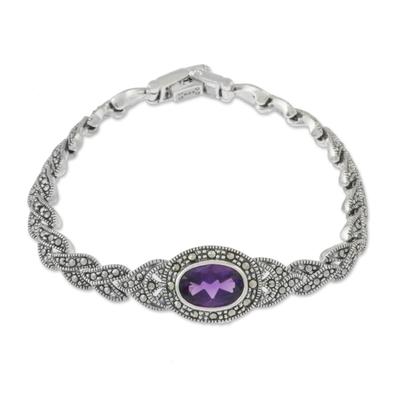 Amethyst link bracelet, 'Leaves of Violet' - Amethyst and Sterling Silver Link Bracelet from Thailand