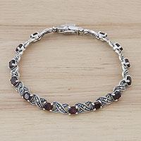 Garnet link bracelet, 'Enchanting Scarlet' - Handmade Thai Garnet and Sterling Silver Link Bracelet