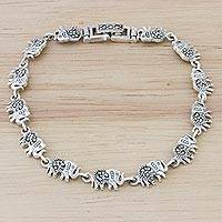 Marcasite and sterling silver link bracelet, 'Marching Elephants'