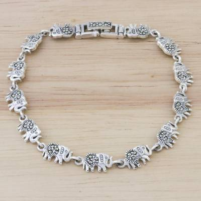 Marcasite and sterling silver link bracelet, 'Marching Elephants' - Marcasite and Sterling Silver Elephant Link Bracelet