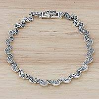 Sterling silver link bracelet, 'Waves of Thailand' - Marcasite and Sterling Silver Link Bracelet from Thailand