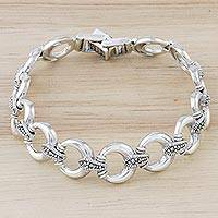 Sterling silver link bracelet, 'Blessed Moon' - Marcasite and Sterling Silver Link Bracelet from Thailand