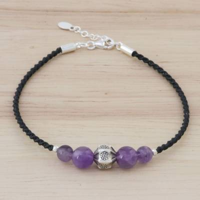 Amethyst beaded pendant bracelet, Purple Hill Tribe