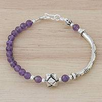 Amethyst beaded pendant bracelet, 'Hill Tribe Special' - Hill Tribe Amethyst Beaded Pendant Bracelet from Thailand