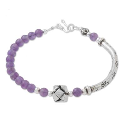 Amethyst beaded pendant bracelet, 'Hill Tribe Special' - Hill Tribe Amethyst Beaded Pendant Bracelet from Thailand