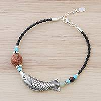 Multi-gemstone beaded pendant bracelet, 'Delightful Fish' - Multi-Gemstone Fish Beaded Pendant Bracelet from Thailand