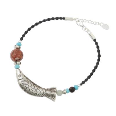 Multi-gemstone beaded pendant bracelet, 'Delightful Fish' - Multi-Gemstone Fish Beaded Pendant Bracelet from Thailand