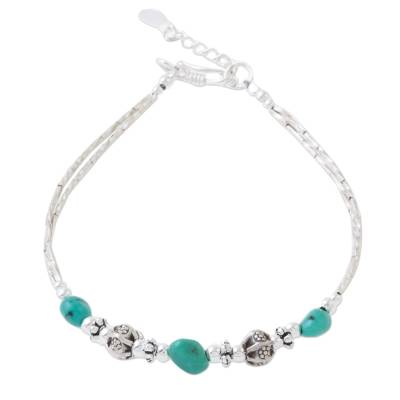 Silver beaded bracelet, 'Summer Relaxation' - Silver and Turquoise Beaded Bracelet from Thailand