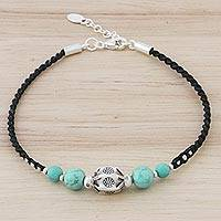 Silver pendant bracelet, 'Lovely Breeze' - Silver and Turquoise Beaded Pendant Bracelet from Thailand