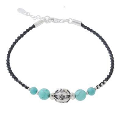 Silver and Turquoise Beaded Pendant Bracelet from Thailand