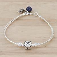 Silver beaded pendant bracelet, 'Lovely Knot' - Silver Beaded Pendant Bracelet from Thailand