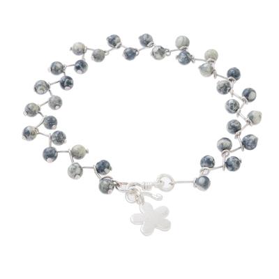 Jasper beaded link bracelet, 'Scattered Clouds' - Jasper and Karen Hill Tribe Silver Flower Beaded Bracelet