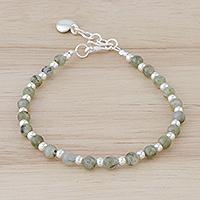 Labradorite beaded bracelet, 'Serene Heart' - Labradorite and Karen Hill Tribe Silver Heart Beade Bracelet
