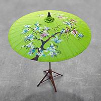 Cotton and bamboo parasol, 'Catch My Eye' - Floral Cotton and Bamboo Parasol in Spring Green