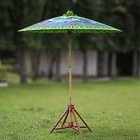 Cotton and bamboo parasol, 'Meeting Point' - Crane-Themed Cotton and Bamboo Parasol in Spring Green