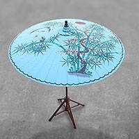 Cotton and bamboo parasol, 'Play With Friends' - Crane-Themed Cotton and Bamboo Parasol in Cerulean
