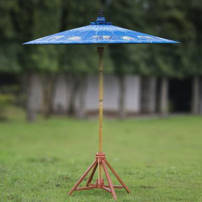 Cotton and bamboo parasol, 'Happy Little Elephants' - Elephant-Themed Cotton and Bamboo Parasol in Sapphire