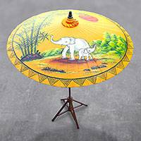 Cotton and bamboo parasol, 'Joyful Dance' - Elephant-Themed Cotton and Bamboo Parasol in Goldenrod