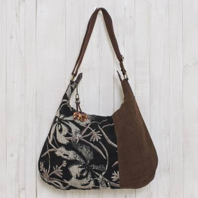 Cotton hobo bag, 'Blossoming Chocolate' - Fair Trade Leather Accent Brown and Black Cotton Hobo Bag