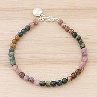 Tourmaline beaded bracelet, 'Rainbow Sweetness' - Colorful Tourmaline Beaded Bracelet from Thailand