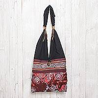 Cotton shoulder bag, 'Glittering Red Flower' - Black and Red Cotton with Floral Pattern Shoulder Bag