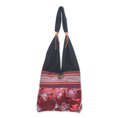 Black and Red Cotton with Floral Pattern Shoulder Bag