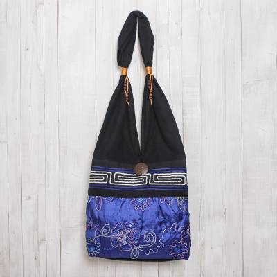 Cotton shoulder bag, 'Glittering Blue Flower' - Black and Blue Cotton with Floral Pattern Shoulder Bag