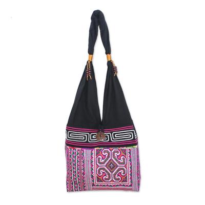 9f25e3d19630 UNICEF Market | Pink and Black Boho-Chic Cotton Shoulder Bag from ...