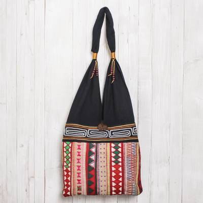 Cotton shoulder bag, 'Thai Wanderer' - Thai Multicolored Cotton Shoulder Bag with Geometric Motif