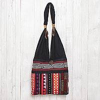 Cotton shoulder bag, 'Ideal Thai' - Thai Multicolored Cotton Shoulder Bag with Geometric Motif